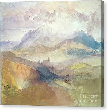 View Along An Alpine Valley Possibly The Val D'aosta Canvas Print by Joseph Mallord William Turner