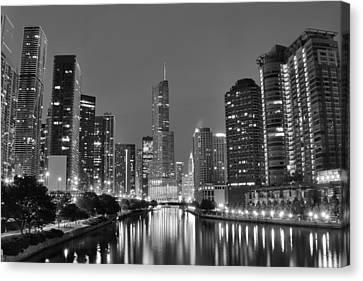 View Down The Chicago River Canvas Print by Frozen in Time Fine Art Photography