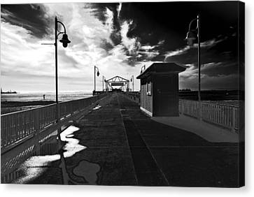 Canvas Print featuring the photograph View Down The Pier by Joseph Hollingsworth