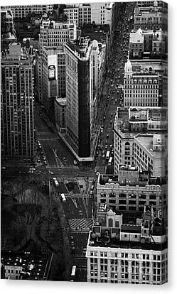 View Down Towards Flatiron Building 5th Ave And Broadway New York City Usa Canvas Print by Joe Fox