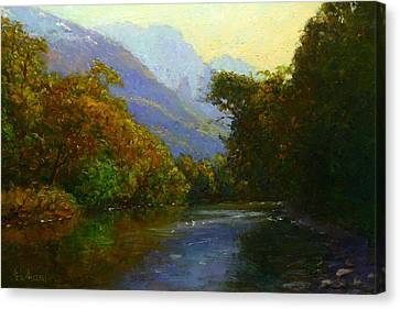 View Downstream Lower Holyford Canvas Print