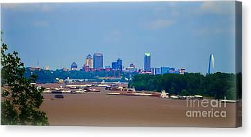View From A Far St. Louis Downtown Canvas Print by Peggy Franz