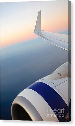 Airoplane Canvas Print - View From A Plane - Beautiful Sunset Over The Pacific Ocean by David Hill