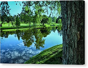 View From Accross The Lake Canvas Print by Tom Mc Nemar