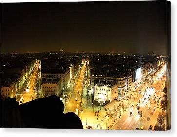 View From Arc De Triomphe - Paris France - 011316 Canvas Print