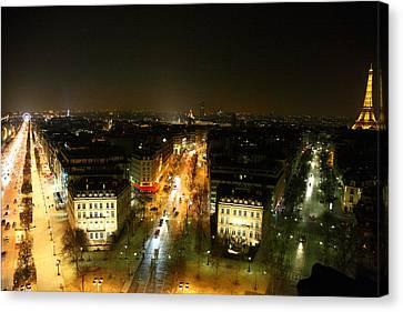 View From Arc De Triomphe - Paris France - 011320 Canvas Print by DC Photographer