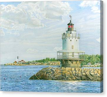 View From Casco Bay Ferry Canvas Print by Dominic White