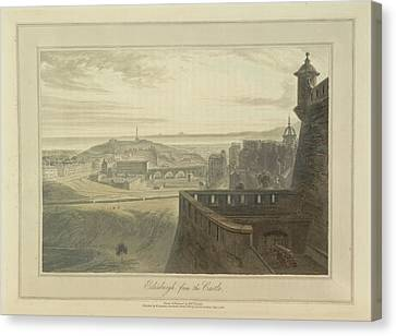 View From Edingbutgh Castle Over The City Canvas Print by British Library