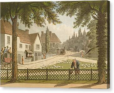 View From My Own Cottage In Essex Canvas Print by Humphry Repton