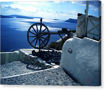 Canvas Print featuring the photograph View From Santorini Island Greece by Colette V Hera  Guggenheim