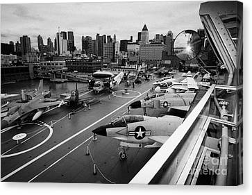 view from the bridge of the USS Intrepid at the Intrepid Sea Air Space Museum Canvas Print by Joe Fox