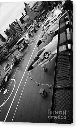view from the bridge of the USS Intrepid at the Intrepid Sea Air Space Museum new york city Canvas Print by Joe Fox