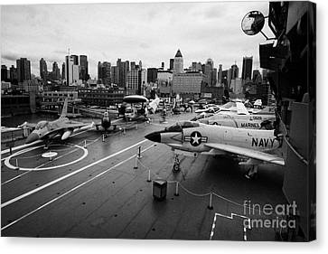 view from the bridge of the USS Intrepid at the Intrepid Sea Air Space Museum new york city usa Canvas Print by Joe Fox