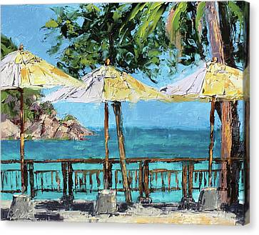 View From The Coast Canvas Print by Leslie Saeta