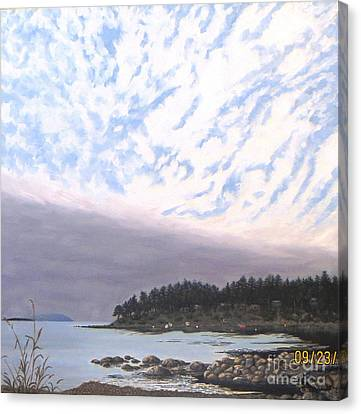 View From The Haven Beach Gabriola Canvas Print by Beverly Theriault