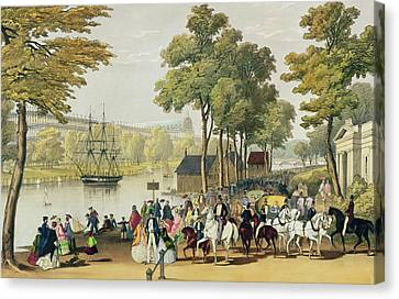 View From The North Bank Of The Serpentine Canvas Print by Philip Brannan