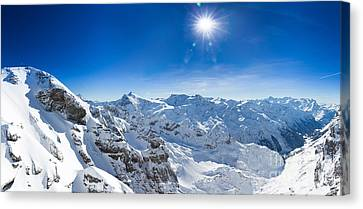 View From Titlis Mountain Towards The South Canvas Print by Carsten Reisinger