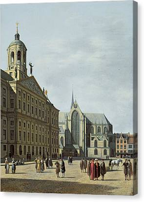 View In Amsterdam, With The Facade Canvas Print by Gerrit Adriaensz Berckheyde
