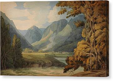 View In Borrowdale Of Eagle Crag And Rosthwaite Canvas Print by Celestial Images