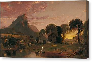 View Near Sherburne Chenango County. New York Canvas Print by Jasper Francis Cropsey