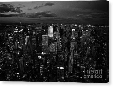 View North At Dusk Towards Central Park New York City Night Cityscape Canvas Print by Joe Fox
