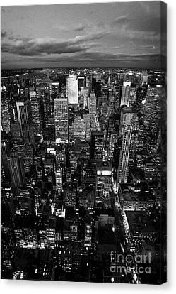 View North At Dusk Towards Central Park New York City Skyline  Canvas Print by Joe Fox