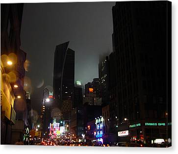 view of 8th Ave before New York Times building Canvas Print