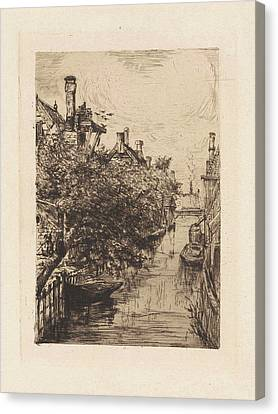 Overhang Canvas Print - View Of A Canal In Amsterdam, Frans Schikkinger by Frans Schikkinger