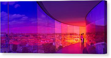 View Of A City From The Translucent Canvas Print by Panoramic Images