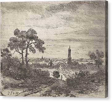 Country Roads Canvas Print - View Of A City, Rhenen , With A Church And A Mill by Johannes Pieter Van Wisselingh