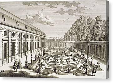 View Of A Flower Garden Near Vienna Canvas Print by Georg Daniel Heumann