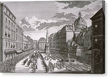 View Of A Procession In The Graben Engraved By Georg-daniel Heumann 1691-1759 Engraving Canvas Print by Salomon Kleiner