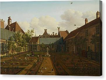 View Of A Town House Garden In The Hague Canvas Print