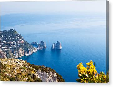 View Of Amalfi Coast Canvas Print by Susan Schmitz