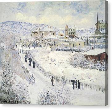 View Of Argenteuil Snow Canvas Print by Claude Monet