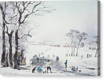 Winter In The Country Canvas Print - View Of Buckingham House And St James Park In The Winter by John Burnet