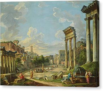View Of Campo Vaccino In Rome Canvas Print by Giovanni Paolo Panini