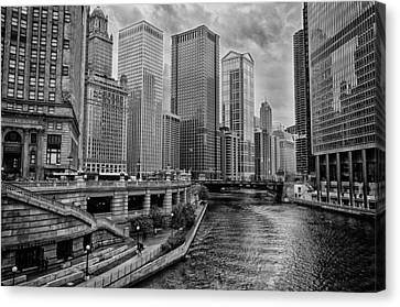 View Of Chicago River Canvas Print by Mike Burgquist