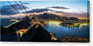 View Of Cityscape From Sugarloaf Canvas Print
