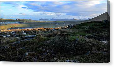 View Of Clogher Beach And The Three Sisters Canvas Print by Barbara Walsh