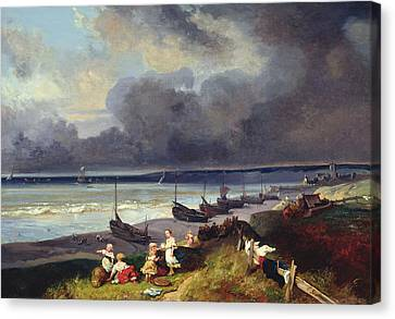 Gabriel Canvas Print - View Of Dieppe by Louis Eugene Gabriel Isabey