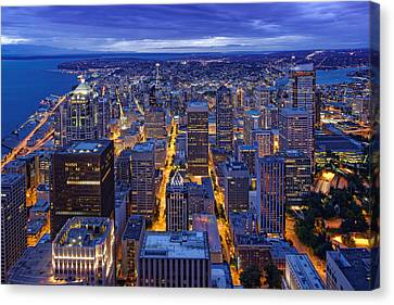 View Of Downtown Seattle Skyline From Columbia Tower Skyview Observatory - Seattle Washington Canvas Print