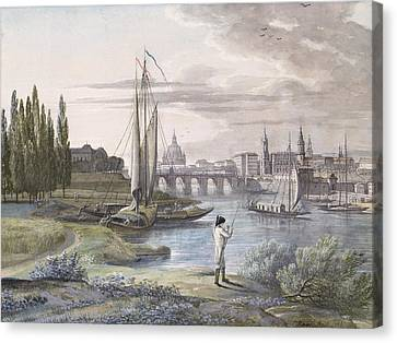 View Of Dresden And The River Elbe, 1806 Canvas Print by C. Roes