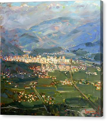 View Of Elbasan City Canvas Print by Ylli Haruni