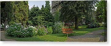 View Of Garden Around La Rocca Canvas Print