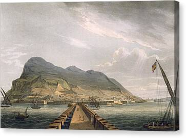 View Of Gibraltar Canvas Print by Thomas Whitcombe