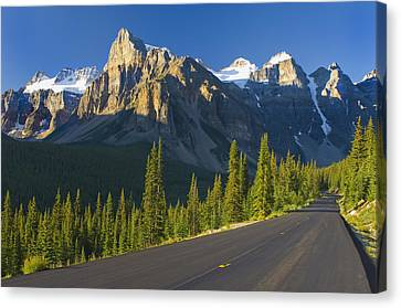 View Of Glacial Mountains And Trees Canvas Print by Laura Ciapponi