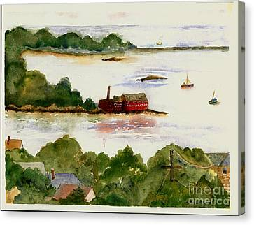 View Of Gloucester Harbor Canvas Print by Kathryn G Roberts