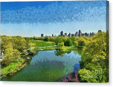 View Of Great Lawn From Belvedere Castle In Central Park Canvas Print by George Atsametakis