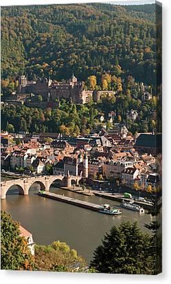 View Of Heidelberg's Old Town, Neckar Canvas Print by Michael Defreitas